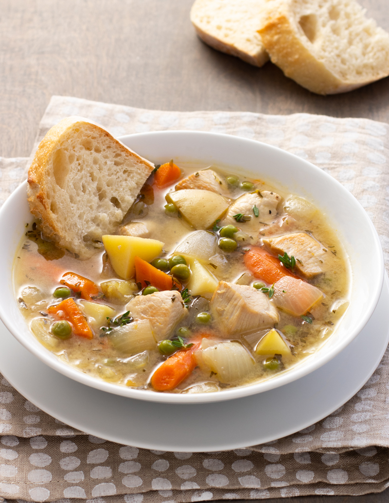 Chicken Stew with Potatoes, Carrots, and Peas / JillHough.com Cozy and comforting with nice chunks of meat and vegetables. And because it's made with chicken, it comes together relatively quickly.